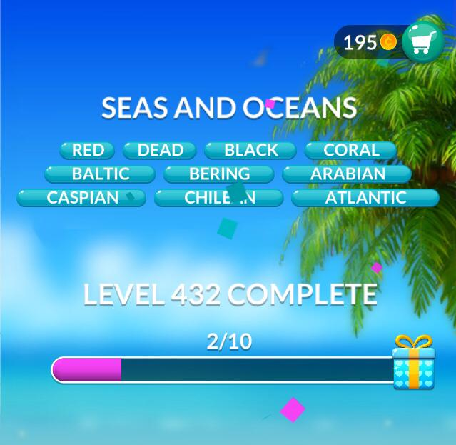 Word Stacks Level 432 Seas and oceans Answers
