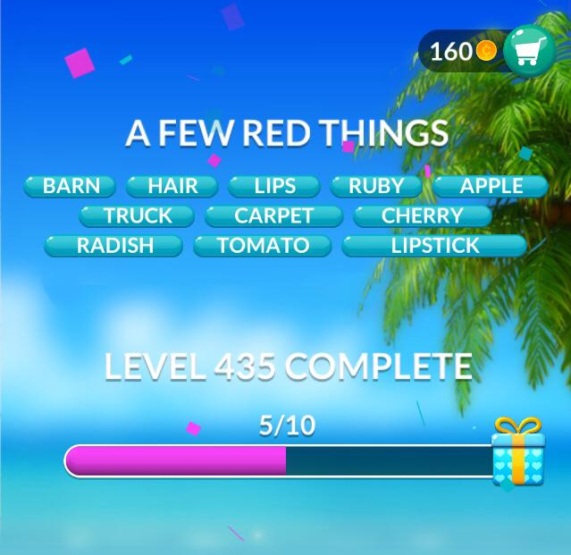 Word Stacks Level 435 A few red things Answers