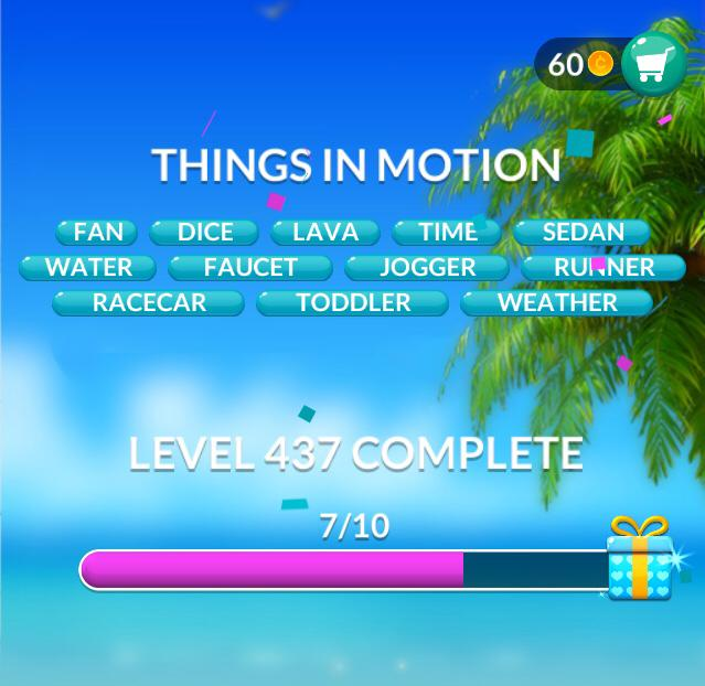 Word Stacks Level 437 Things in motion Answers