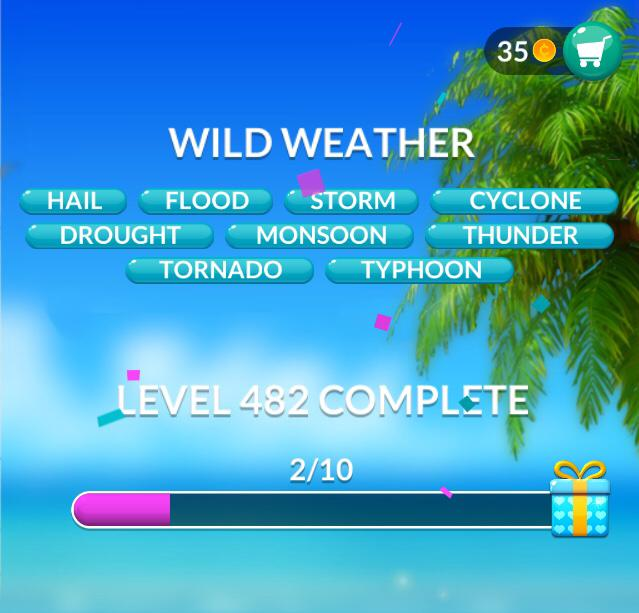 Word Stacks Level 482 Wild weather Answers