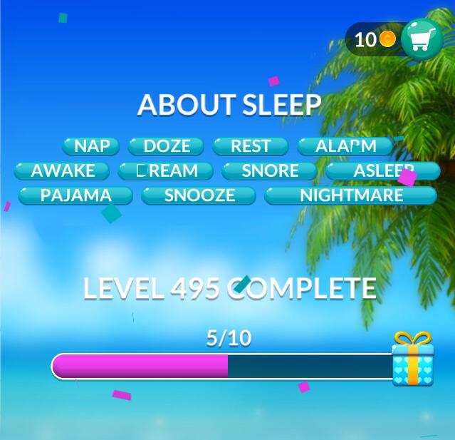 Word Stacks Level 495 About sleep Answers