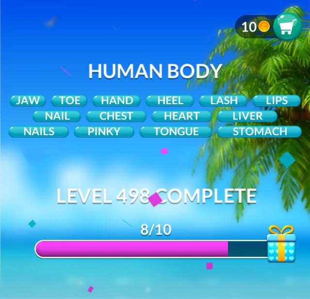 Word Stacks Level 498 Human body Answers