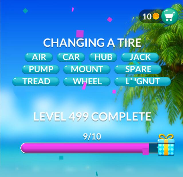 Word Stacks Level 499 Changing a tire Answers