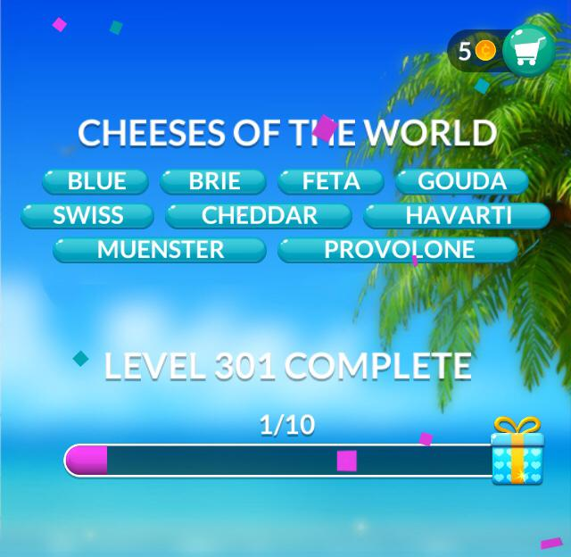 Word Stacks Level 301 Cheeses of the world Answers