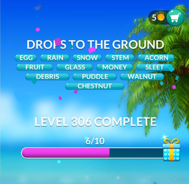 Word Stacks Level 306 Drops to the ground Answers