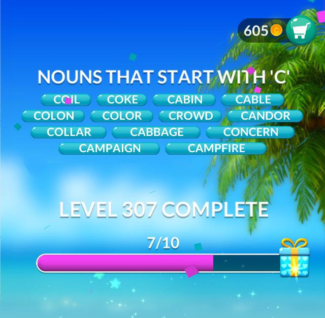 """Word Stacks Level 307 Nouns that start with """"C"""" Answers"""