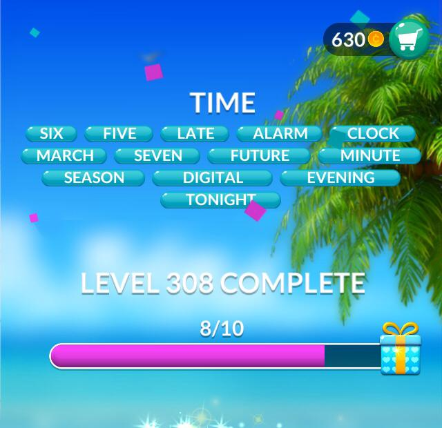 Word Stacks Level 308 Time Answers