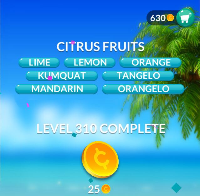 Word Stacks Level 310 Citrus fruits Answers
