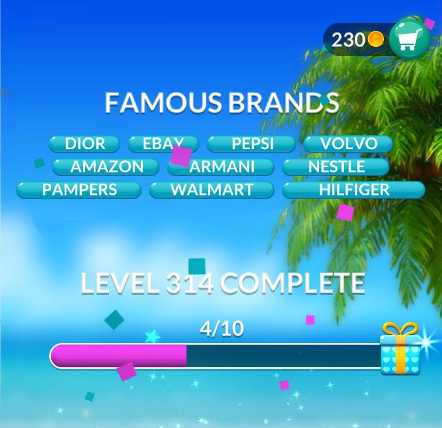 Word Stacks Level 314 Famous brands Answers