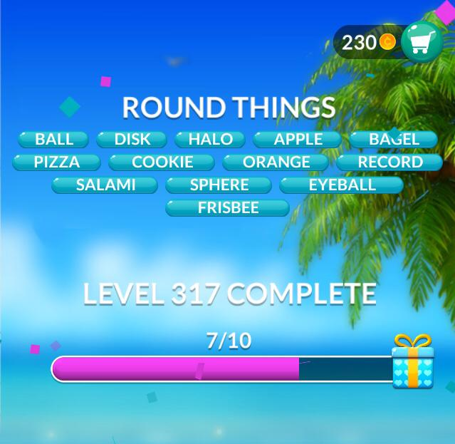 Word Stacks Level 317 Round things Answers