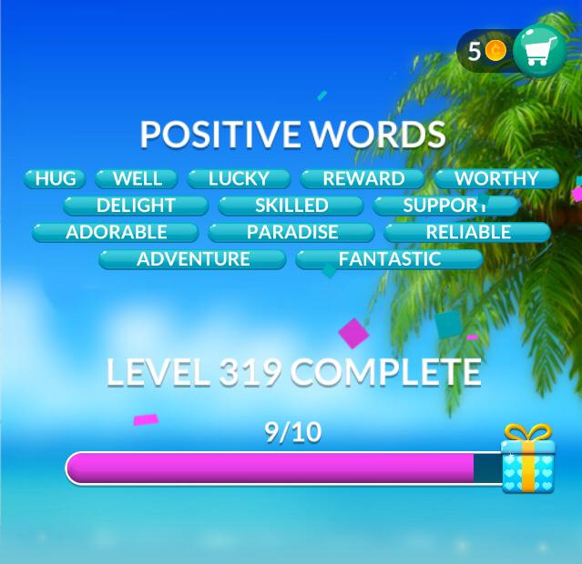 Word Stacks Level 319 Positive words Answers