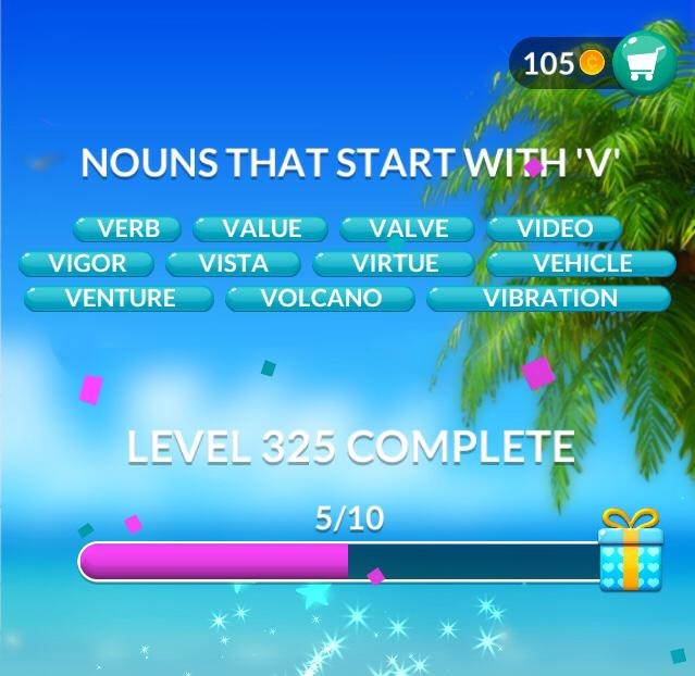 "Word Stacks Level 325 Nouns that start with ""V"" Answers"