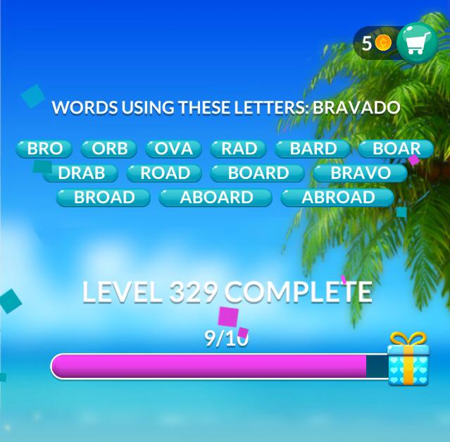 Word Stacks Level 329 Words using these letters: BRAVADO Answers