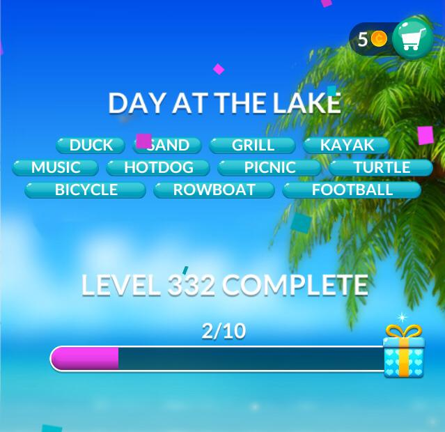 Word Stacks Level 332 Day at the lake Answers
