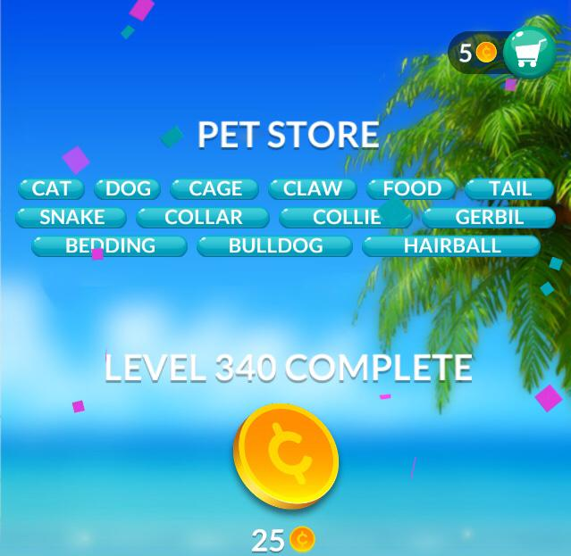 Word Stacks Level 340 Pet store Answers
