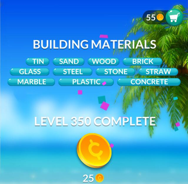 Word Stacks Level 350 Building materials Answers