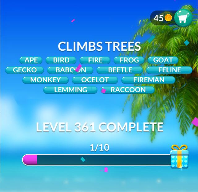 Word Stacks Level 361 Climbs trees Answers