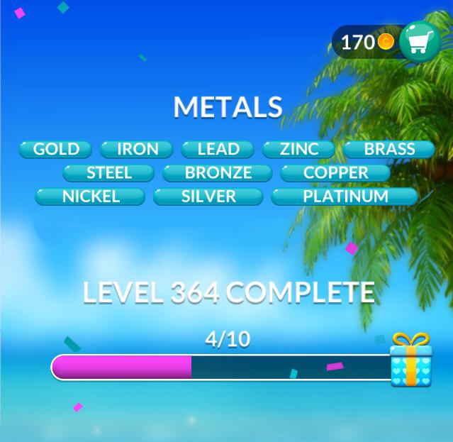 Word Stacks Level 364 Metals Answers