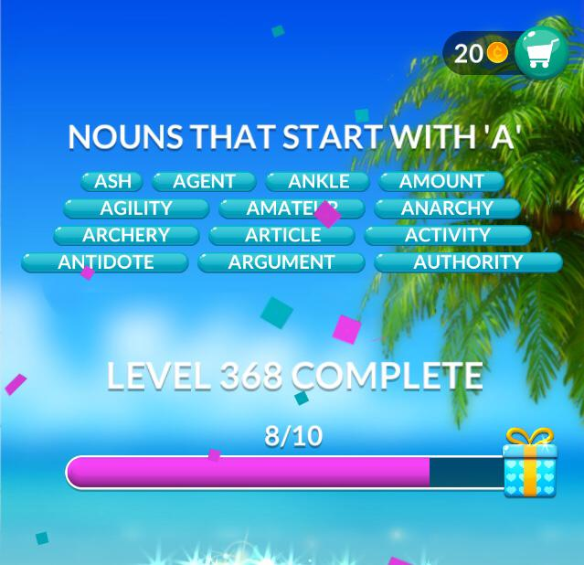 Word Stacks Level 368 Nouns that start with A Answers