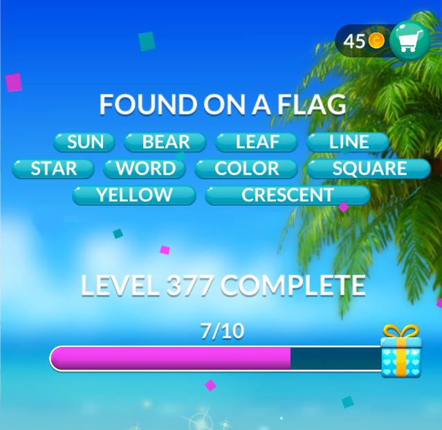 Word Stacks Level 377 Found on a flag Answers