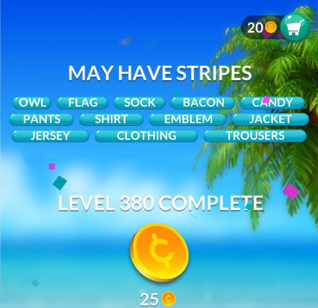 Word Stacks Level 380 May have stripes Answers
