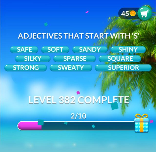 Word Stacks Level 382 Adjectives that start with S Answers