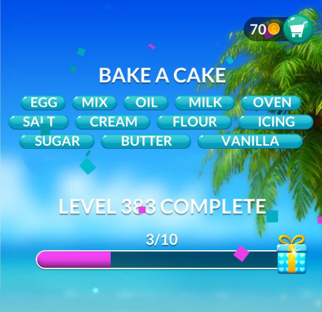 Word Stacks Level 383 Bake a cake Answers