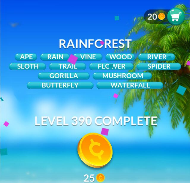 Word Stacks Level 390 Rainforest Answers
