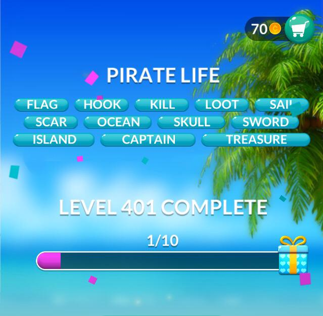 Word Stacks Level 401 Pirate life Answers