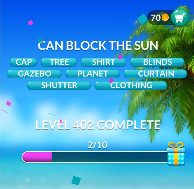 Word Stacks Level 402 Can block the sun Answers