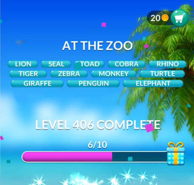 Word Stacks Level 406 At the zoo Answers