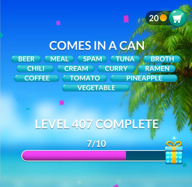 Word Stacks Level 407 Comes in a can Answers