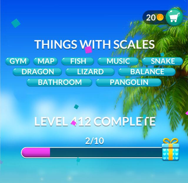 Word Stacks Level 412 Things with scales Answers