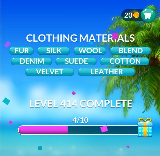 Word Stacks Level 414 Clothing materials Answers