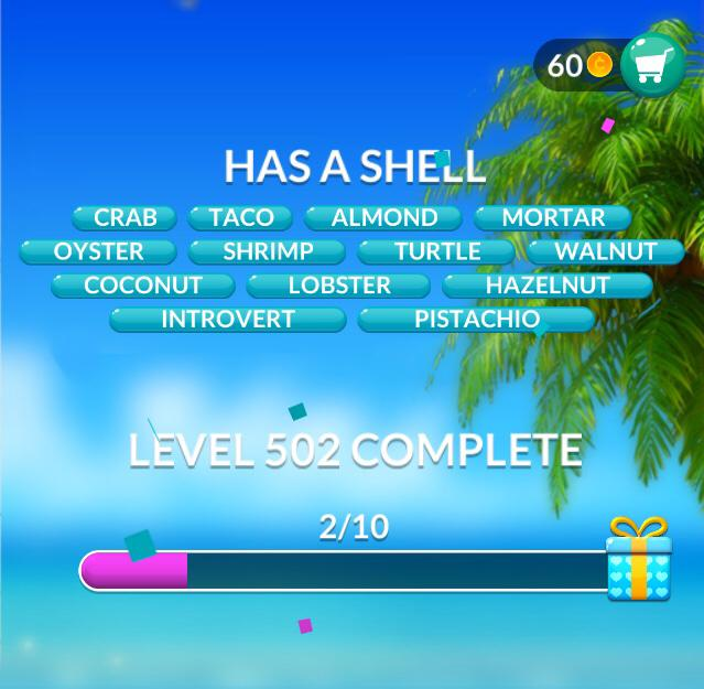 Word Stacks Level 502 Has a shell Answers