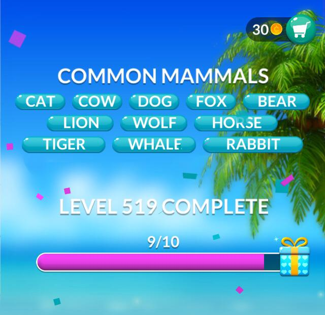 Word Stacks Level 519 Common mammals Answers