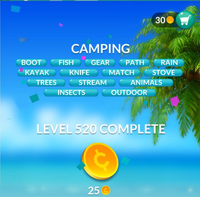 Word Stacks Level 520 Camping Answers
