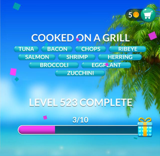 Word Stacks Level 523 Cooked on a grill Answers