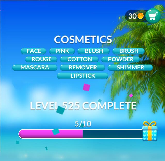 Word Stacks Level 525 Cosmetics Answers