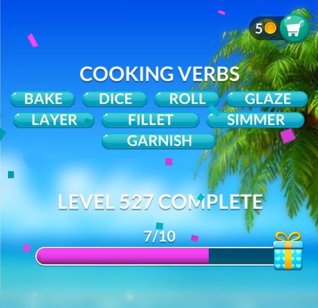 Word Stacks Level 527 Cooking verbs Answers
