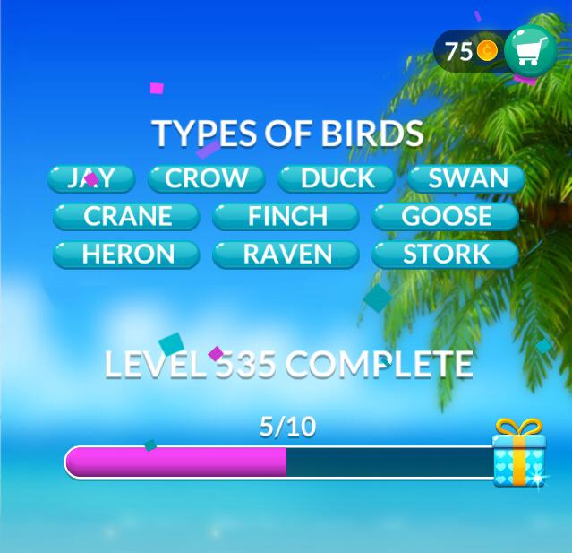 Word Stacks Level 535 Types of Birds Answers