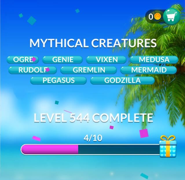 Word Stacks Level 544 Mythical creatures Answers