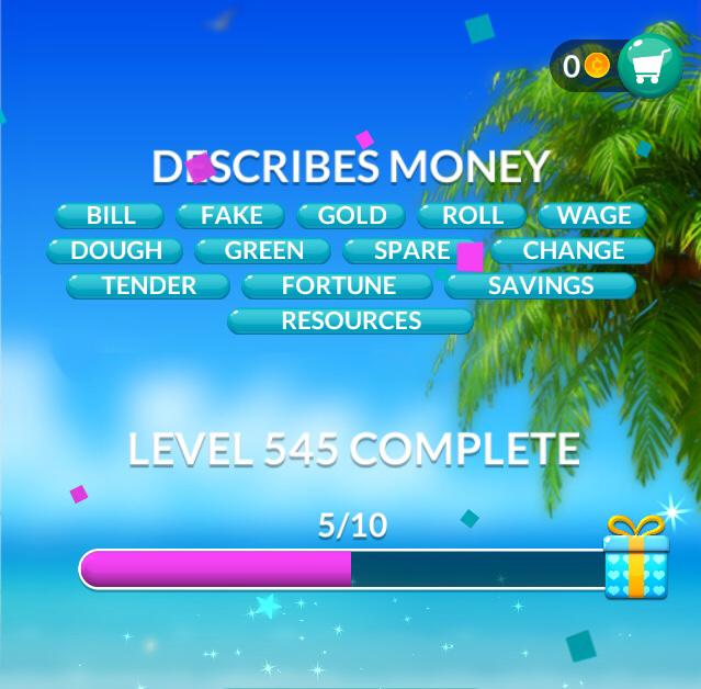 Word Stacks Level 545 Describes money Answers
