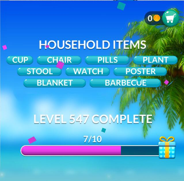 Word Stacks Level 547 Household items Answers