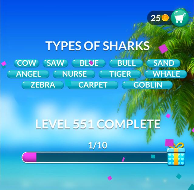 Word Stacks Level 551 Types of sharks Answers