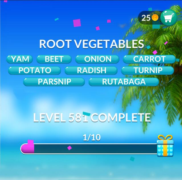 Word Stacks Level 581 Root Vegetables Answers