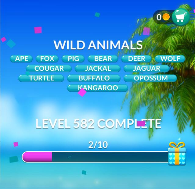 Word Stacks Level 582 Wild animals Answers