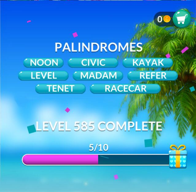 Word Stacks Level 585 Palindromes Answers