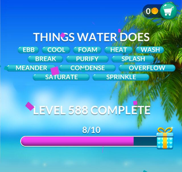 Word Stacks Level 588 Things water does Answers