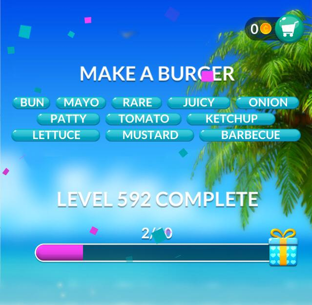 Word Stacks Level 592 Make a burger Answers